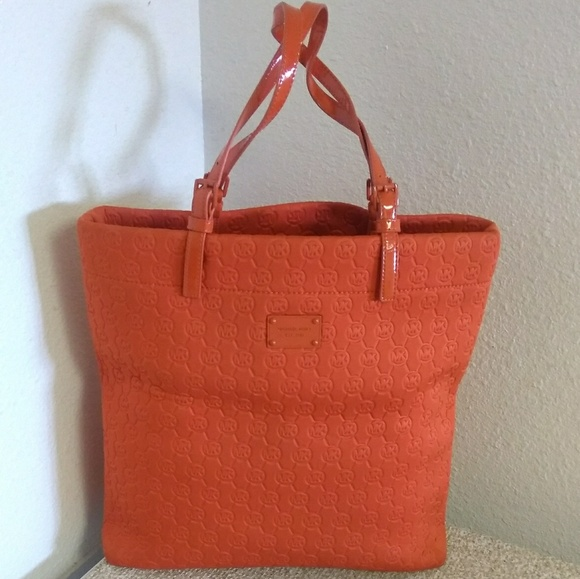 071768a5a170 MICHAEL Michael Kors Bags | Orange Fabric Tote Bag | Poshmark